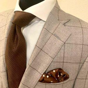 Samuelsohn Window Pane Sport Coat Blazer Gray 40